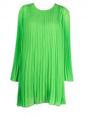 Плиссированное платье-трапеция Essentiel Antwerp. Цвет: зеленый