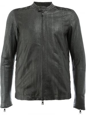 Кожаная куртка с эффектом змеиной кожи Giorgio Brato. Цвет: черный