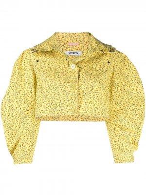 Укороченная куртка с цветочным принтом Vivetta. Цвет: желтый