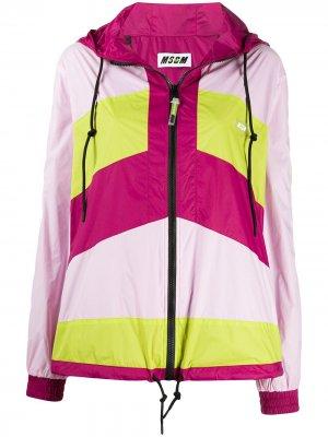 Куртка в стиле колор-блок на молнии MSGM. Цвет: розовый