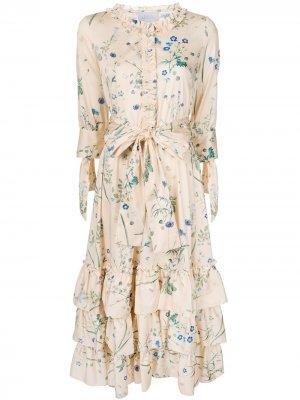 Платье с цветочным принтом и оборками Luisa Beccaria. Цвет: оранжевый
