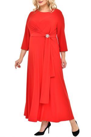 Платье, брошь SVESTA. Цвет: красный