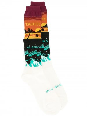 Носки вязки интарсия Doublet. Цвет: разноцветный