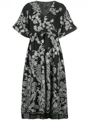 Расклешенное платье с принтом Natori. Цвет: черный