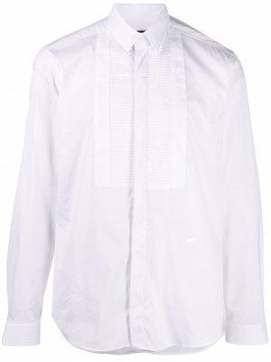 Рубашка с манишкой в рубчик Les Hommes. Цвет: белый