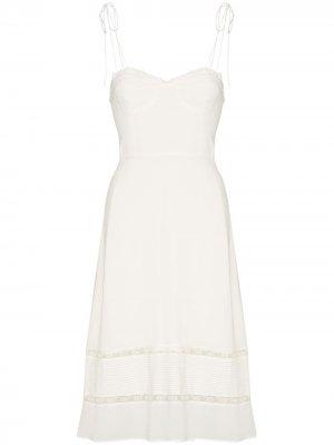 Платье миди Ronan с кружевом Reformation. Цвет: белый