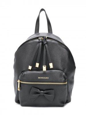 Рюкзак на молнии с логотипом Monnalisa. Цвет: черный