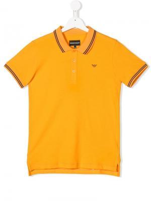 Рубашка-поло с отделкой в полоску Emporio Armani Kids. Цвет: оранжевый