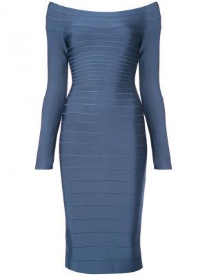 Приталенное платье миди Hervé Léger. Цвет: синий
