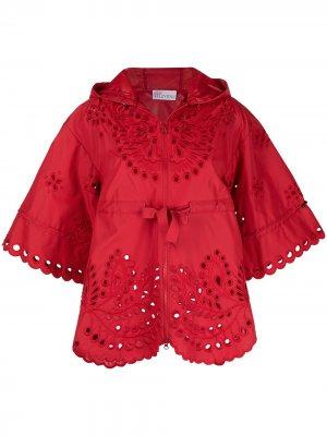 Куртка с капюшоном и цветочной вышивкой RED Valentino. Цвет: красный
