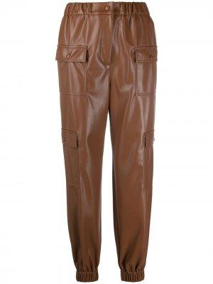 Брюки с карманами и завышенной талией MSGM. Цвет: коричневый