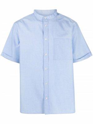 Рубашка с воротником-стойкой и короткими рукавами Barbour. Цвет: синий