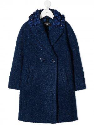 Двубортное пальто с вышивкой Monnalisa. Цвет: синий
