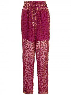 Зауженные брюки с принтом Nk. Цвет: розовый