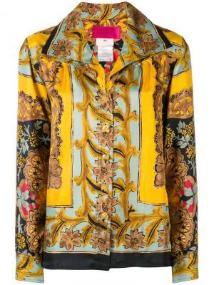 Рубашка с цветочным принтом Christian Lacroix Vintage. Цвет: желтый