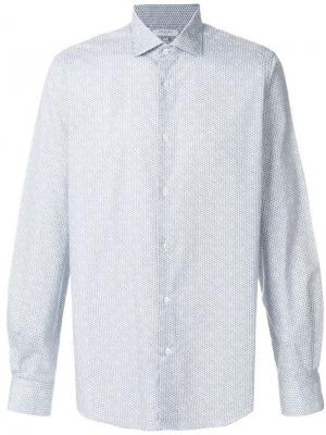 Рубашка классического кроя с мелким рисунком Boglioli. Цвет: синий