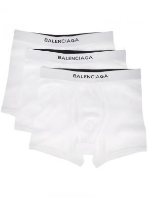 Комплект из трех боксеров Balenciaga. Цвет: белый