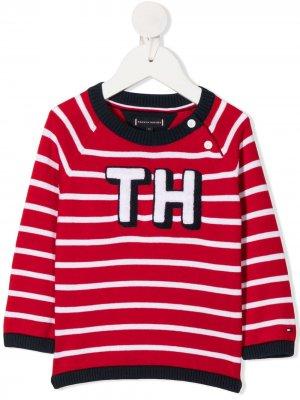 Джемпер в полоску с логотипом Tommy Hilfiger Junior. Цвет: красный