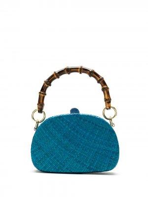 Соломенный клатч SERPUI. Цвет: синий