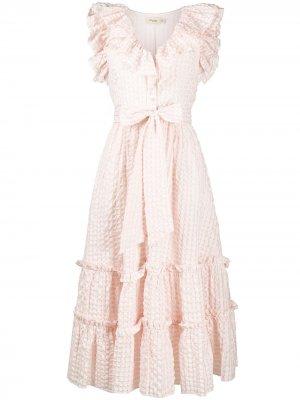 Платье с вышивкой и оборками Temperley London. Цвет: розовый