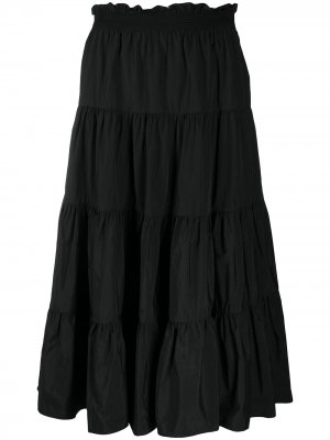 Ярусная юбка А-силуэта Sea. Цвет: черный