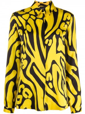 Рубашка с абстрактным принтом Just Cavalli. Цвет: желтый