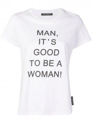 Футболка с надписью Good to be a Woman Marlies Dekkers. Цвет: белый