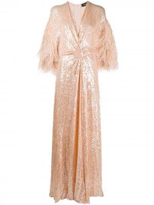 Платье с пайетками и перьями Jenny Packham. Цвет: оранжевый