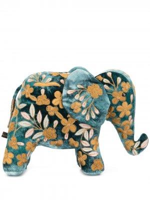 Мягкая игрушка в виде слона с цветочной вышивкой Anke Drechsel. Цвет: синий