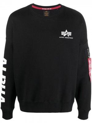 Толстовка с логотипом Alpha Industries. Цвет: черный
