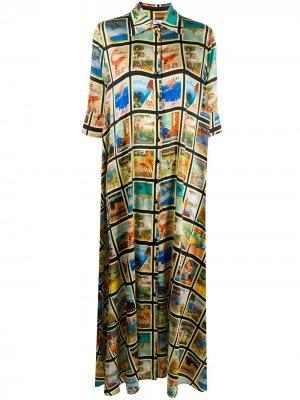 Платье-рубашка с принтом Ultràchic. Цвет: зеленый