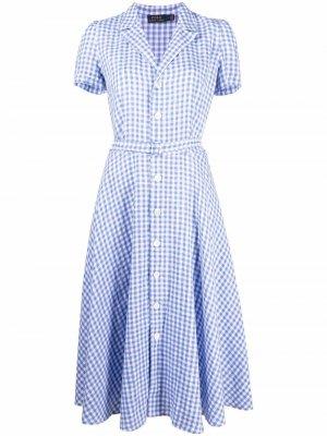 Checked midi shirt dress Polo Ralph Lauren. Цвет: синий