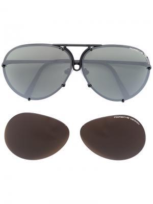 Солнцезащитные очки в круглой оправе Porsche Design. Цвет: черный