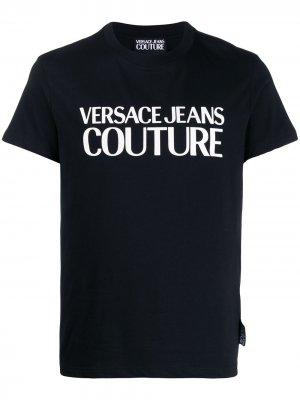 Футболка с логотипом Versace Jeans Couture. Цвет: черный