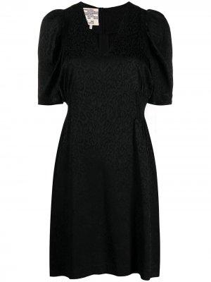 Платье с леопардовым принтом и короткими рукавами Baum Und Pferdgarten. Цвет: черный