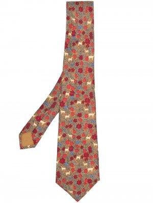 Галстук 2000-х годов с принтом Hermès. Цвет: коричневый