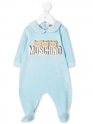 Пижама Teddy с логотипом Moschino Kids. Цвет: синий