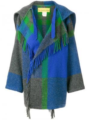 Свободное пальто в клетку Jc De Castelbajac Vintage. Цвет: синий