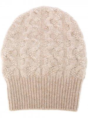 Кашемировая шапка бини фактурной вязки Agnona. Цвет: нейтральные цвета