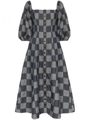 Платье Marlow из денима Mara Hoffman. Цвет: синий