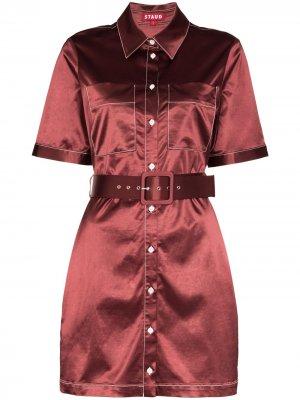 Платье-рубашка Bentley с поясом STAUD. Цвет: красный
