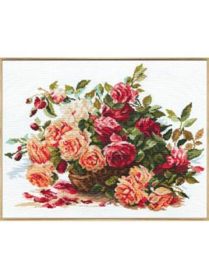 Набор для вышивания Розы  40х30 см Алиса. Цвет: коричневый, красный, малиновый, розовый, темно-зеленый, темно-коричневый, темно-красный