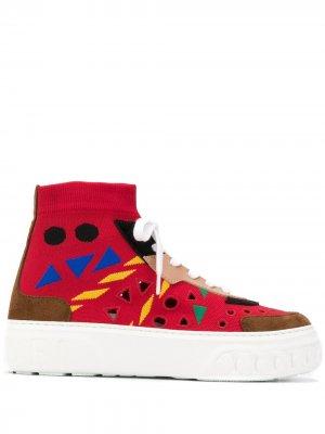 Кроссовки-носки с абстрактным принтом Casadei. Цвет: красный