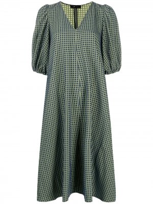 Клетчатое платье миди с пышными рукавами Stine Goya. Цвет: синий