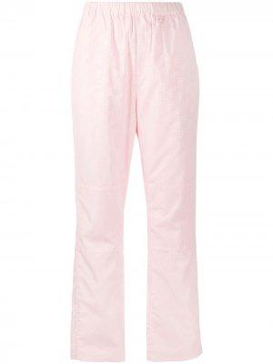Прямые брюки с монограммой Saks Potts. Цвет: розовый