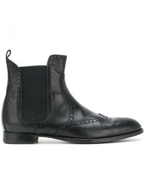Ботинки челси с брогированием Hermès Vintage. Цвет: черный