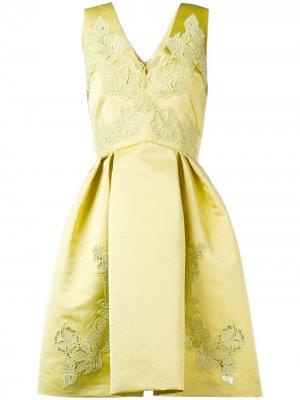 Расклешенное платье с вышивкой Zuhair Murad. Цвет: желтый