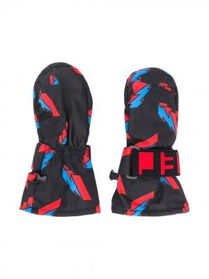 Лыжные варежки с принтом Stella McCartney Kids. Цвет: черный