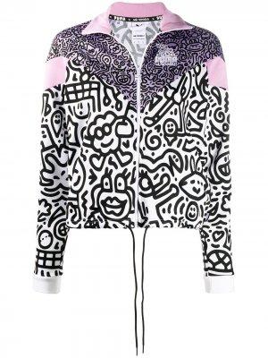Куртка на молнии из коллаборации с Mr Doodles Puma. Цвет: фиолетовый