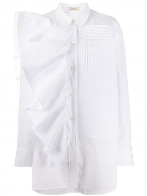 Рубашка оверсайз с оборками Nina Ricci. Цвет: белый